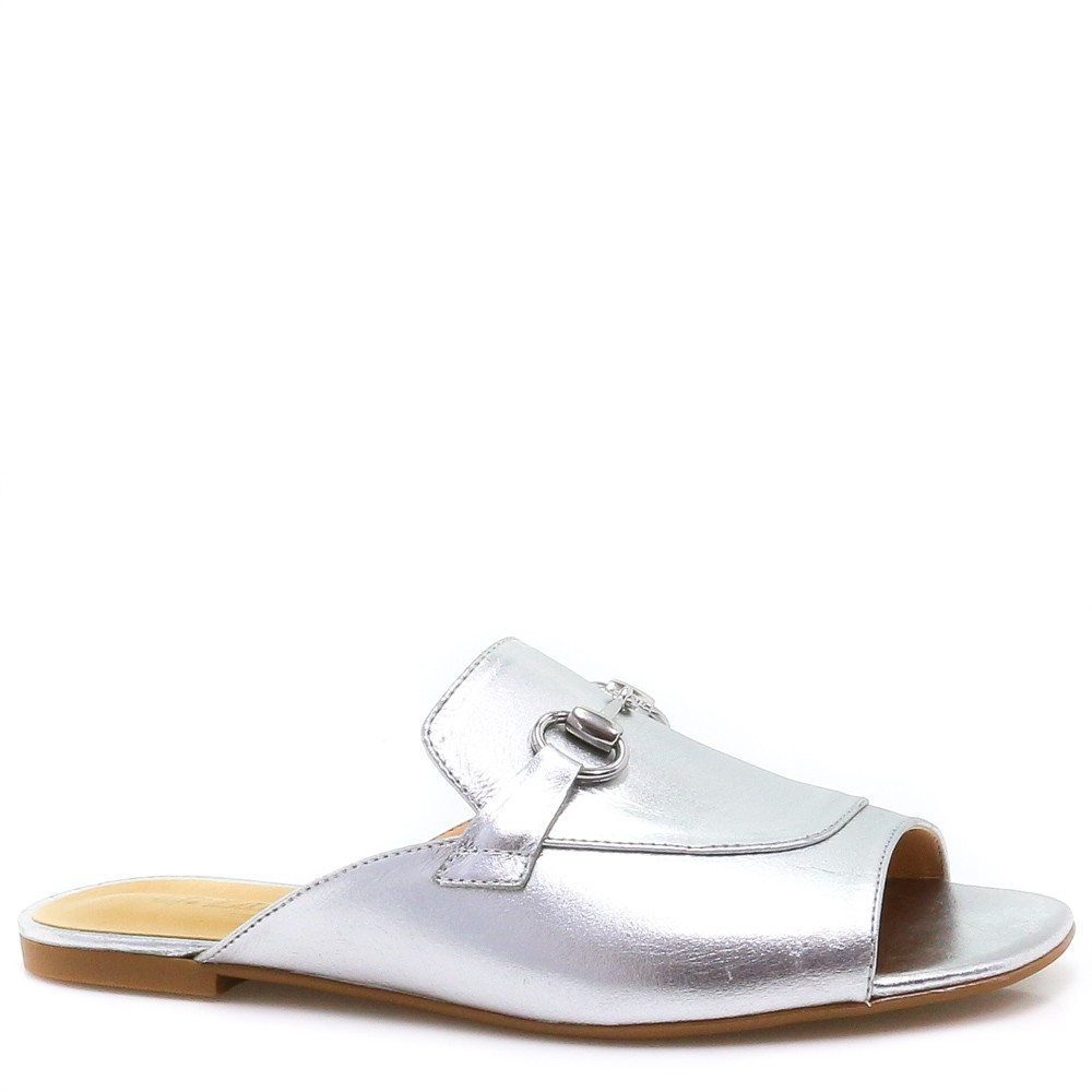 Flat Mule Zariff Shoes Metalizado Corrente Prata