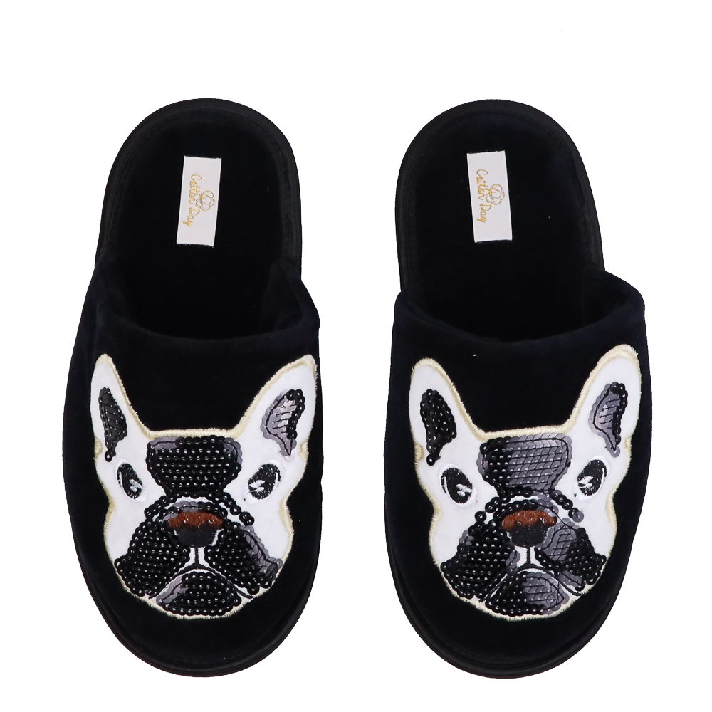 Pantufa Chinelo Feminina Cotton Day Cachorro Bulldog