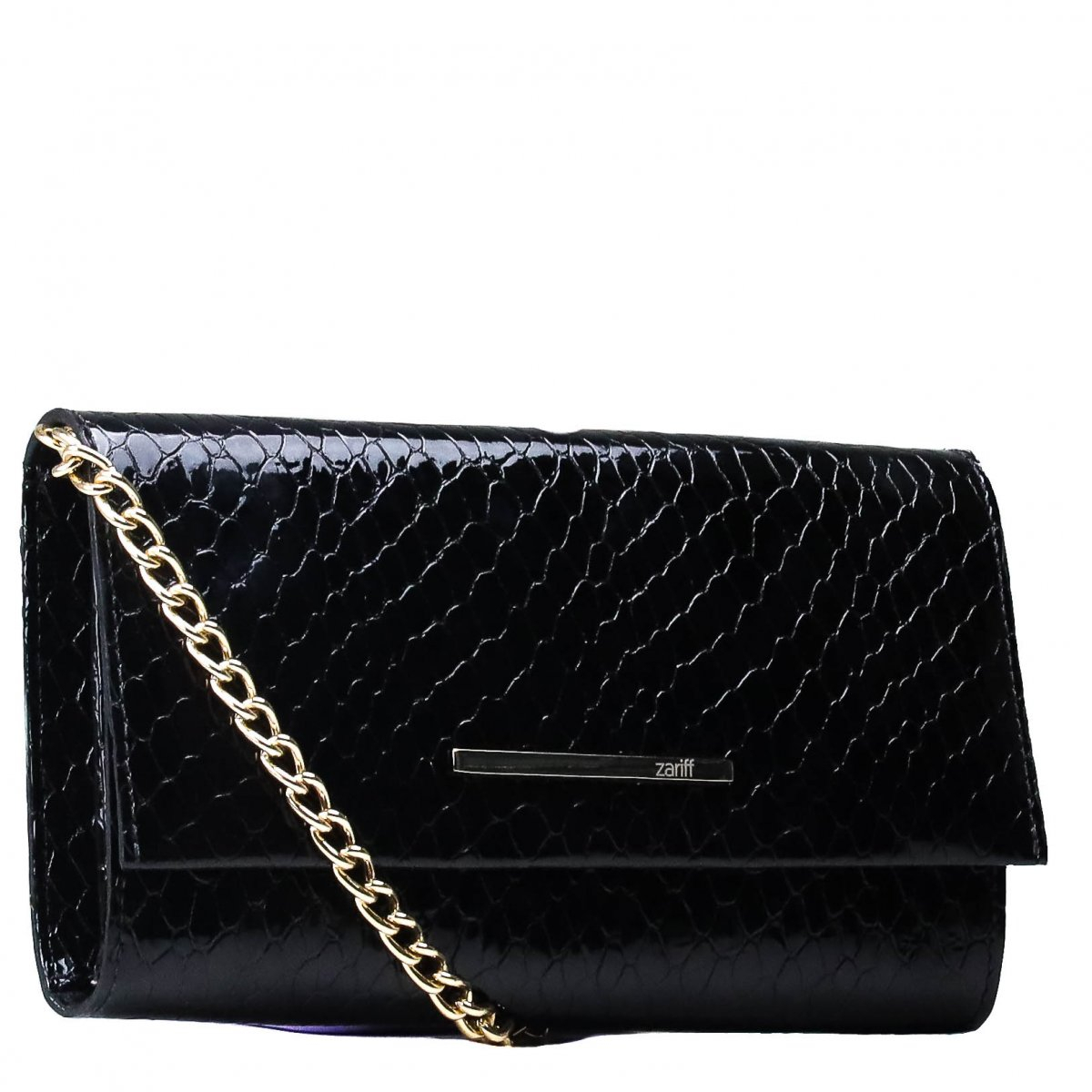 Bolsa Zariff Shoes Clutch Croco Preto