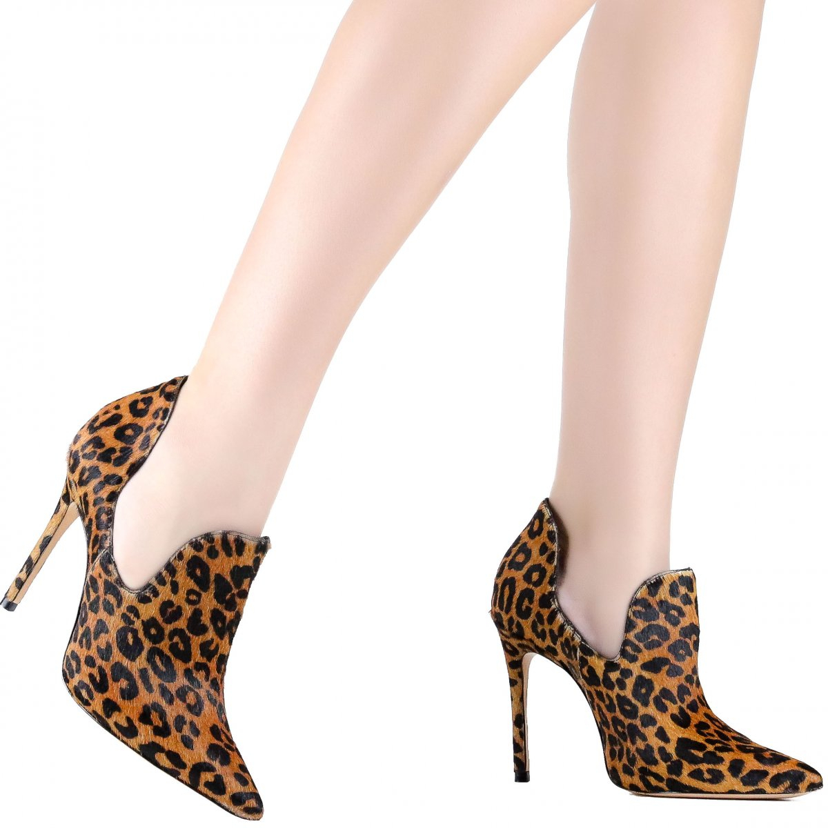 Bota Ankle Boot Cut Out Schutz Animal Print Marrom