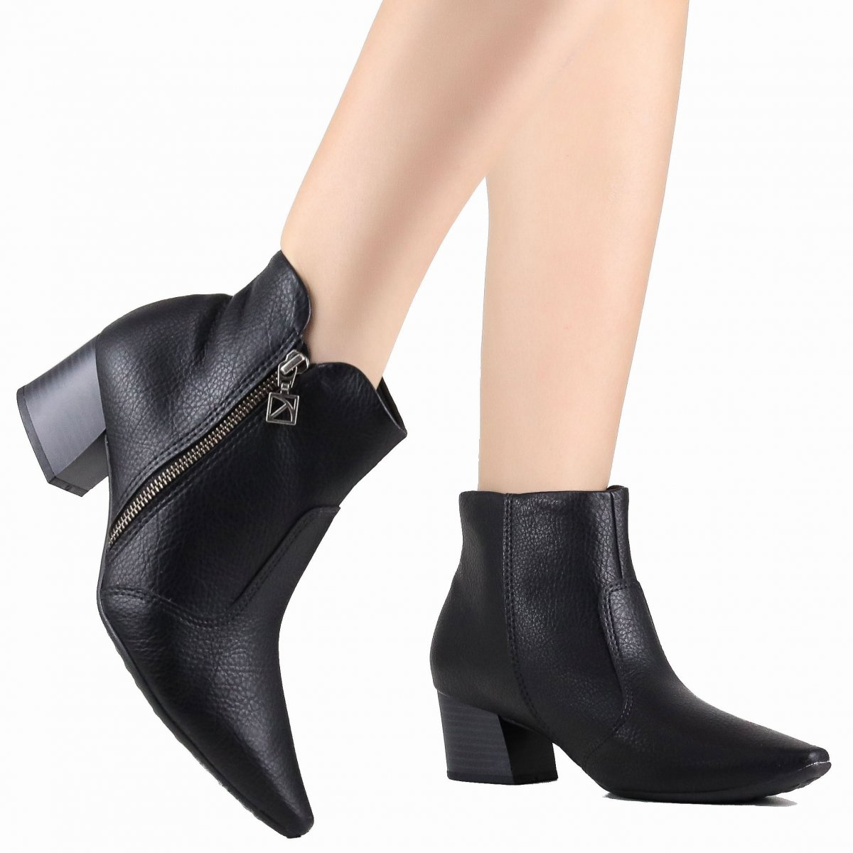 Bota Ankle Boot Piccadilly MaxiTheraphy Cano Curto Preto