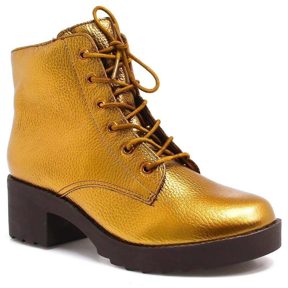 Bota Coturno Zariff Shoes Metalizada Dourado