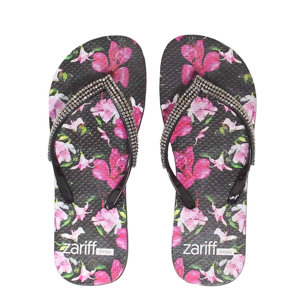 Chinelo Zariff Shoes Floral Pedras Preto