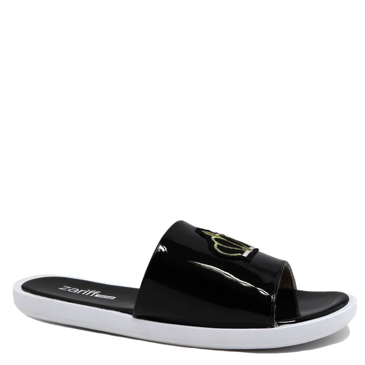 Chinelo Zariff Shoes Slide Bordado Preto