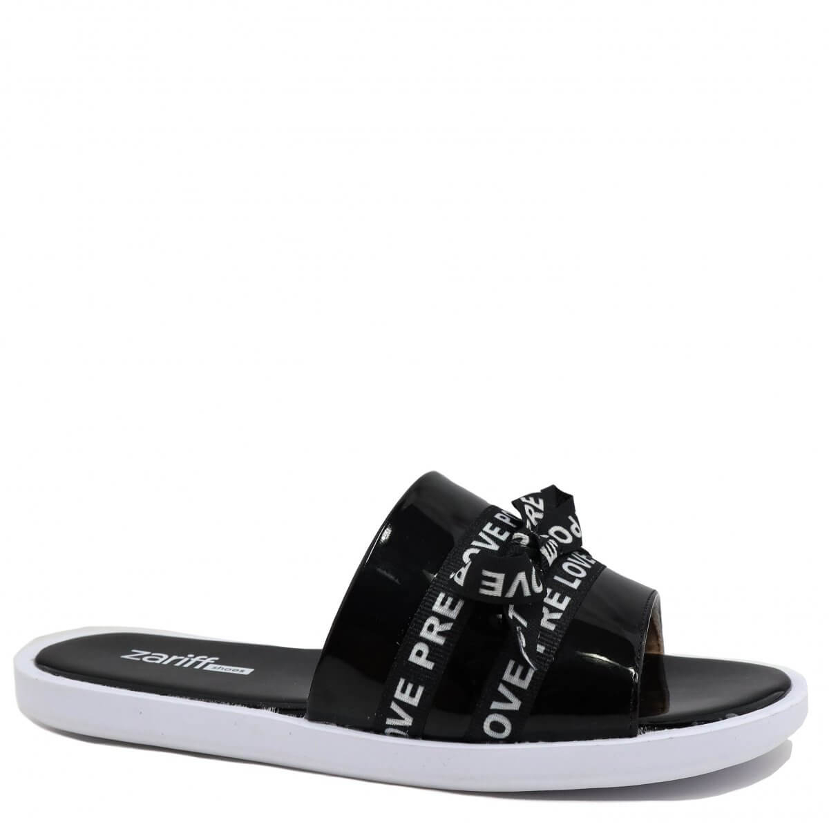 Chinelo Zariff Shoes Slide Lettering Preto