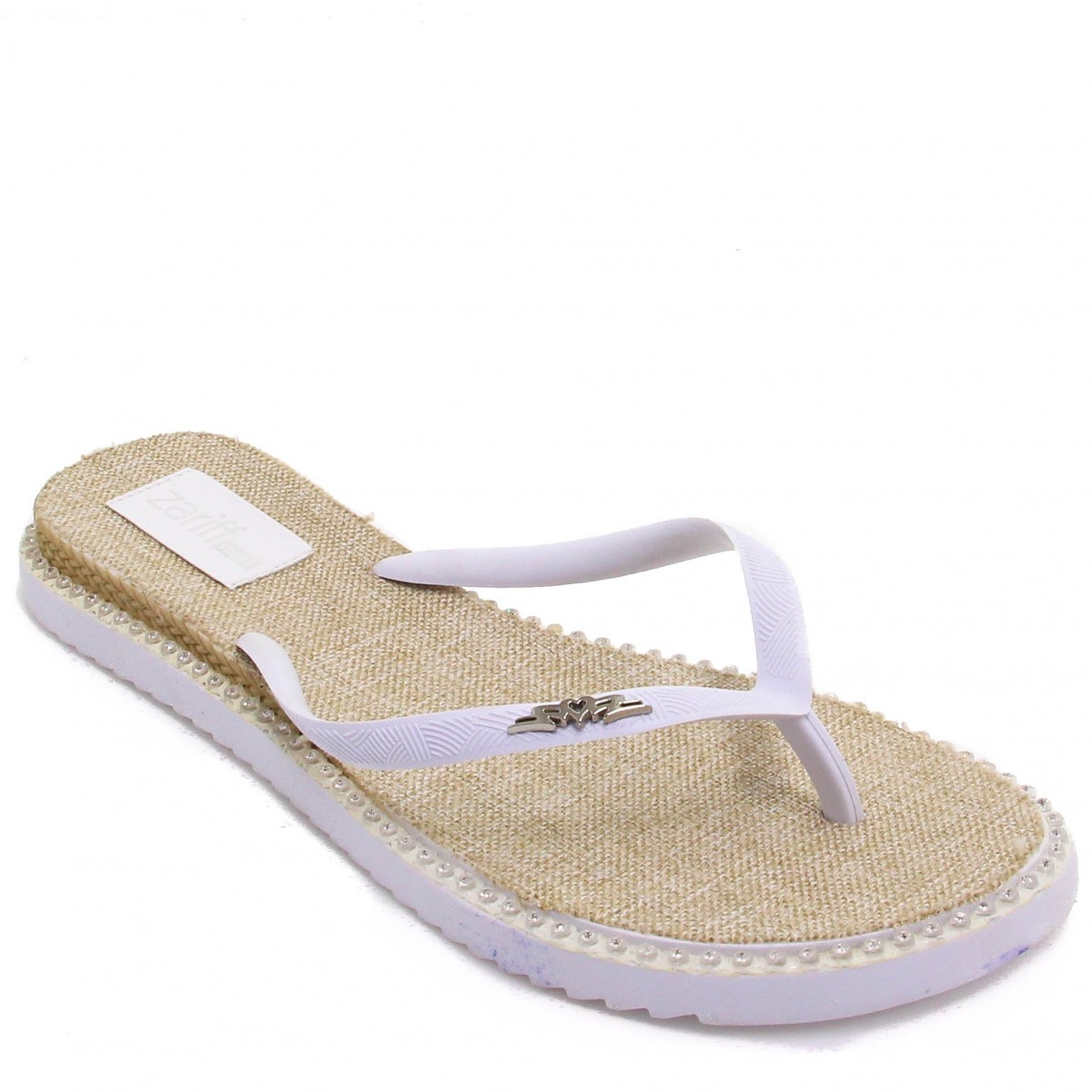 Chinelo Zariff Shoes Strass Branco