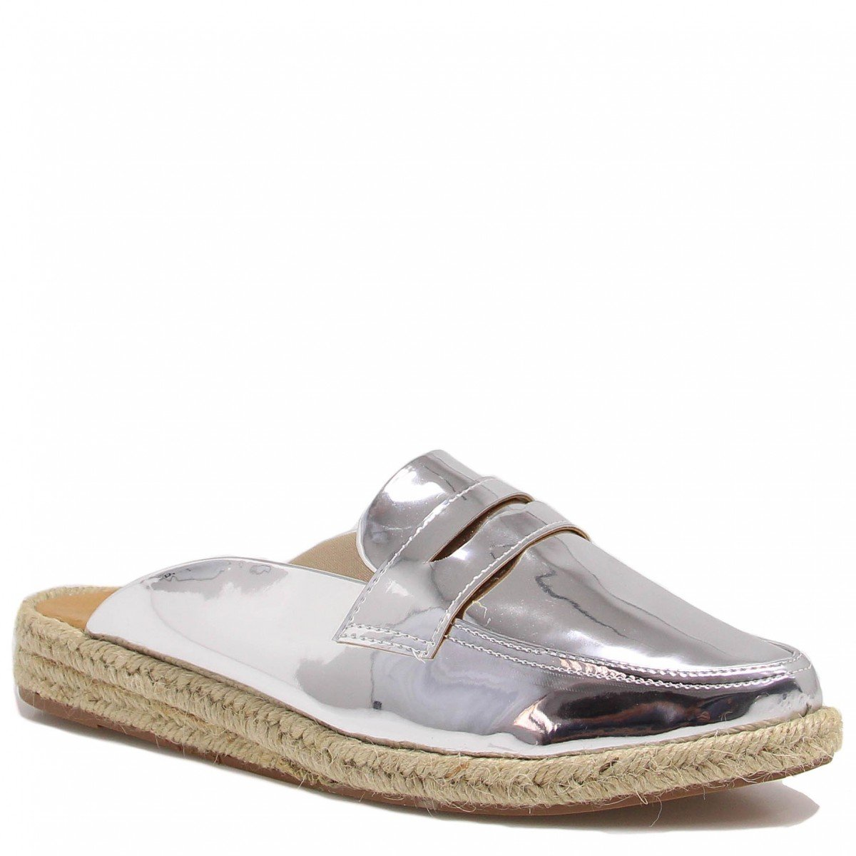 Mule Flat Zariff Shoes Loafer Espadrille Prata