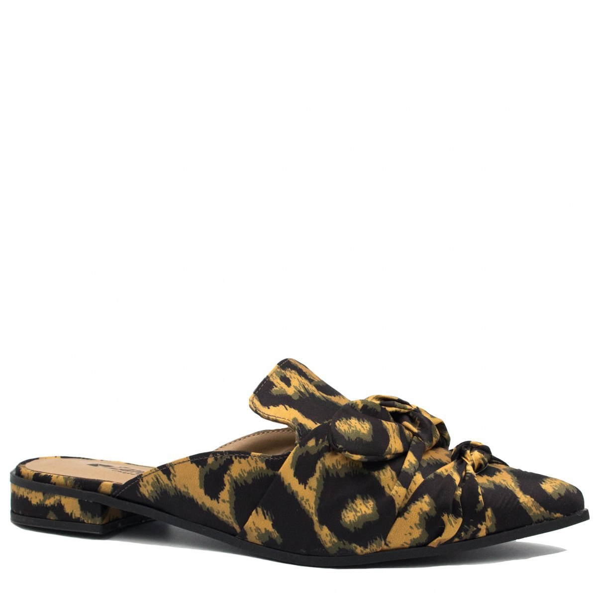 Mule Zariff Shoes Animal Print Laço Preto