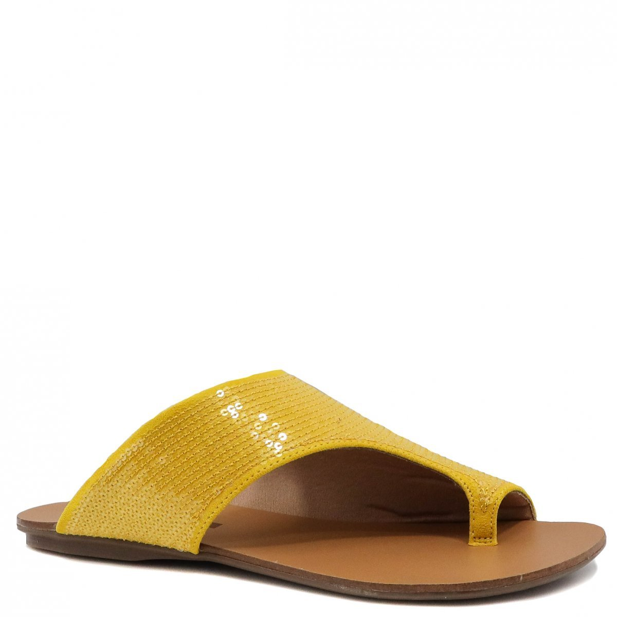 Rasteira Zariff Shoes Assimetrico Amarelo
