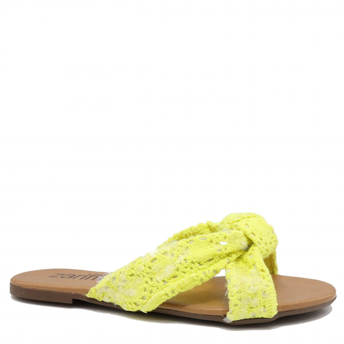 Rasteira Zariff Shoes Casual Crochet Amarelo