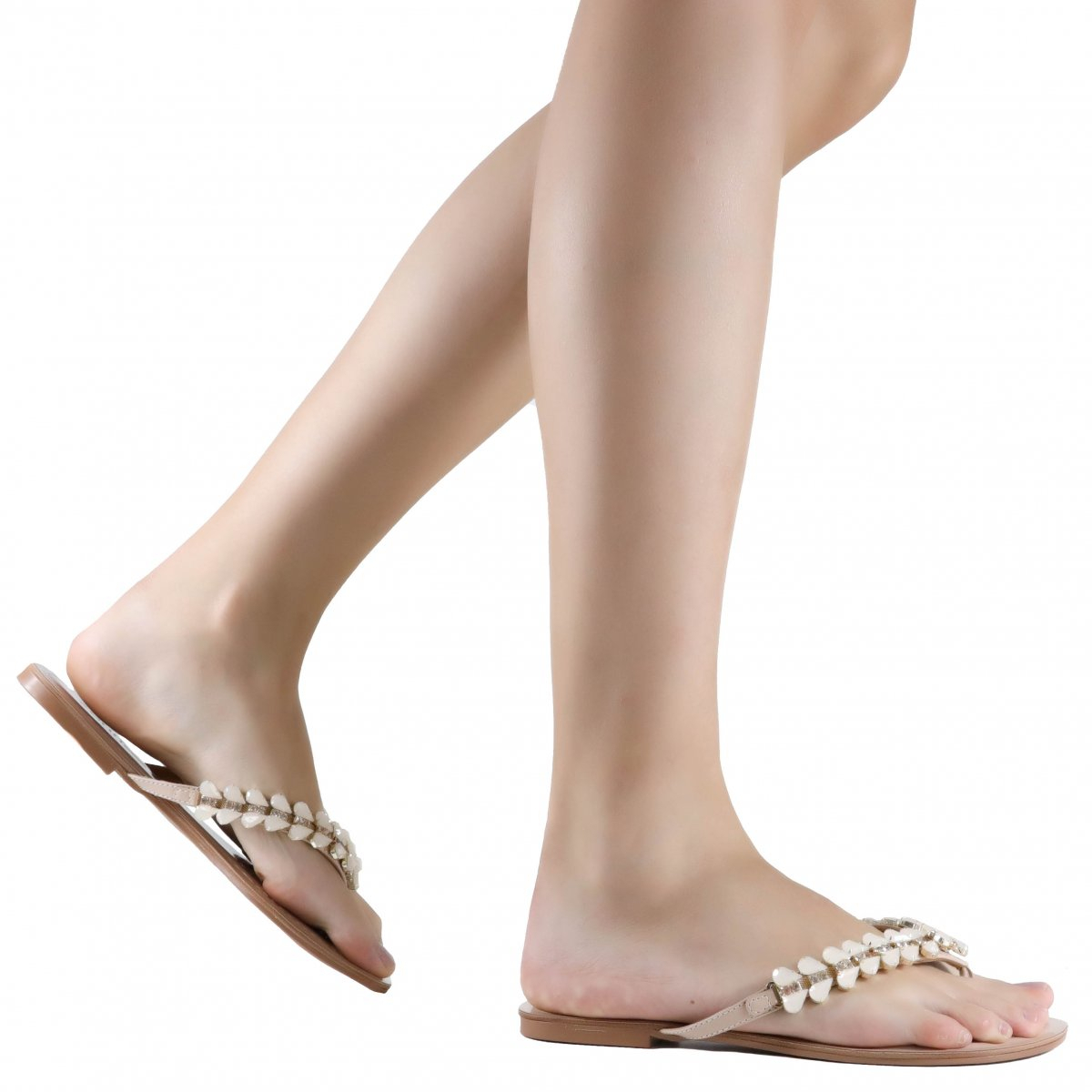 Rasteira Zariff Shoes Casual Pedrarias Nude