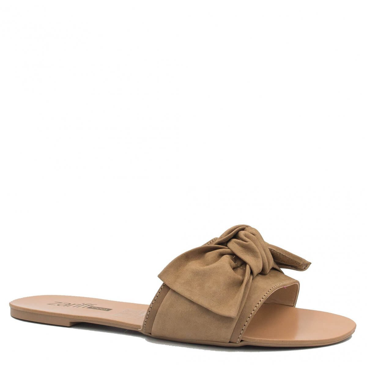 Rasteira Zariff Shoes Slide Laço Nude