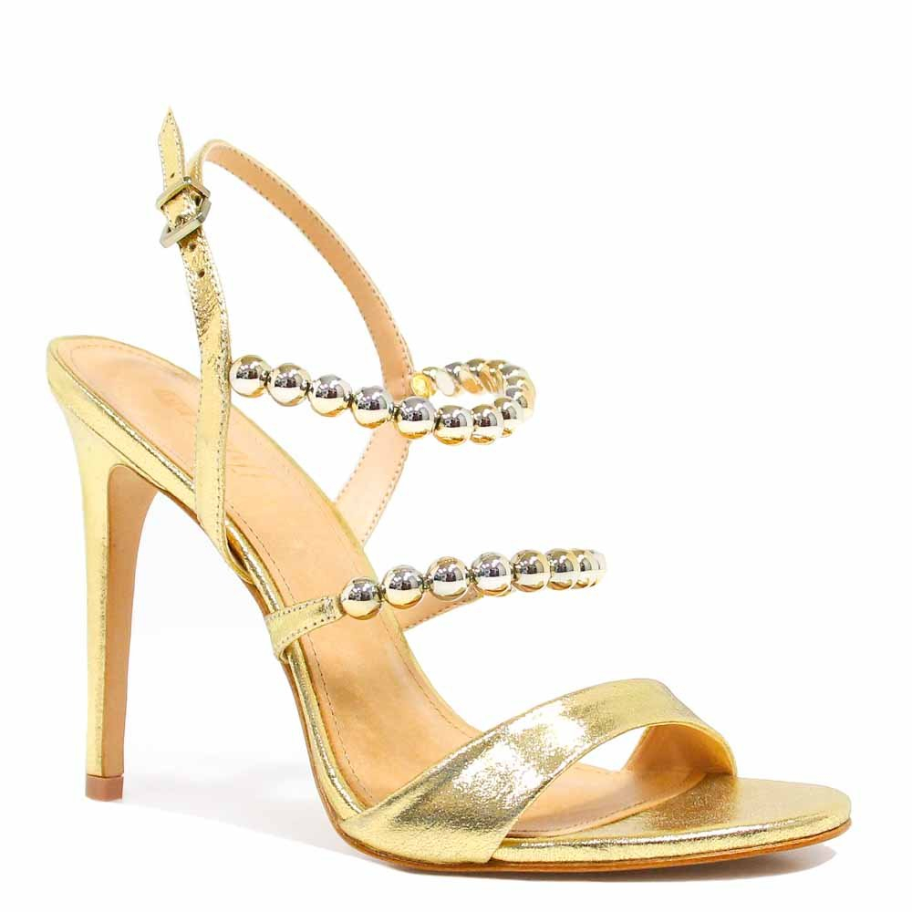 Sandália Zariff Shoes Salto Metalizada Dourado