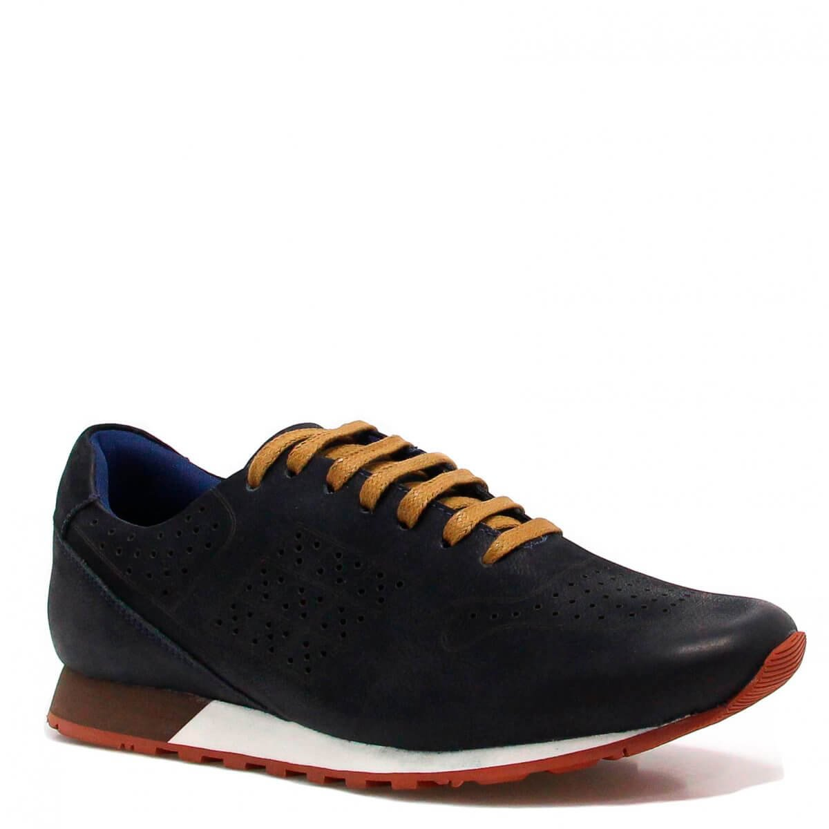 Sapatênis Zariff Shoes Casual Couro Azul