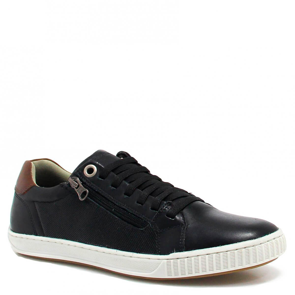 Sapatênis Casual Zariff Shoes Zíper Preto