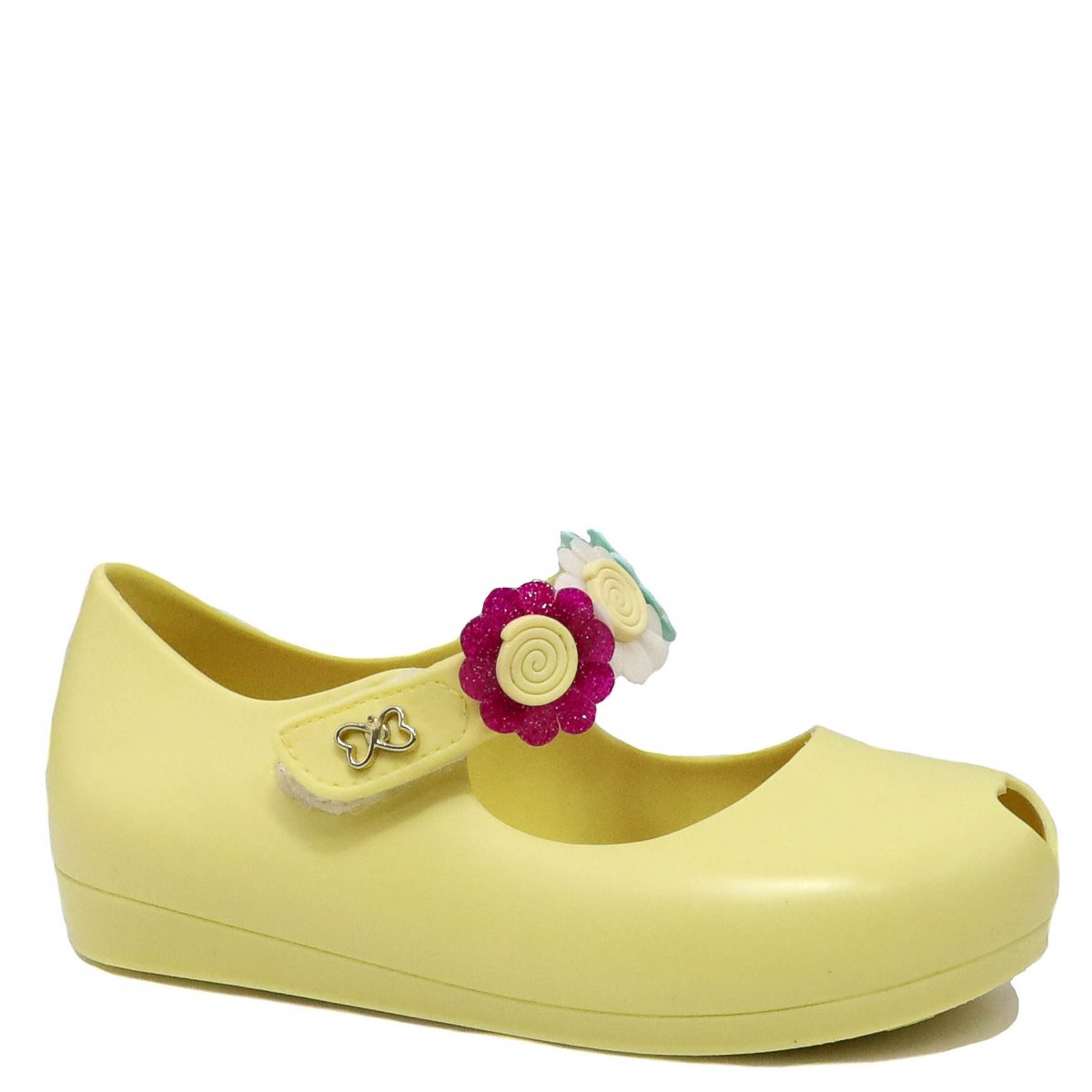 Sapatilha Infantil World Colors Peep Toe Flor Amarelo