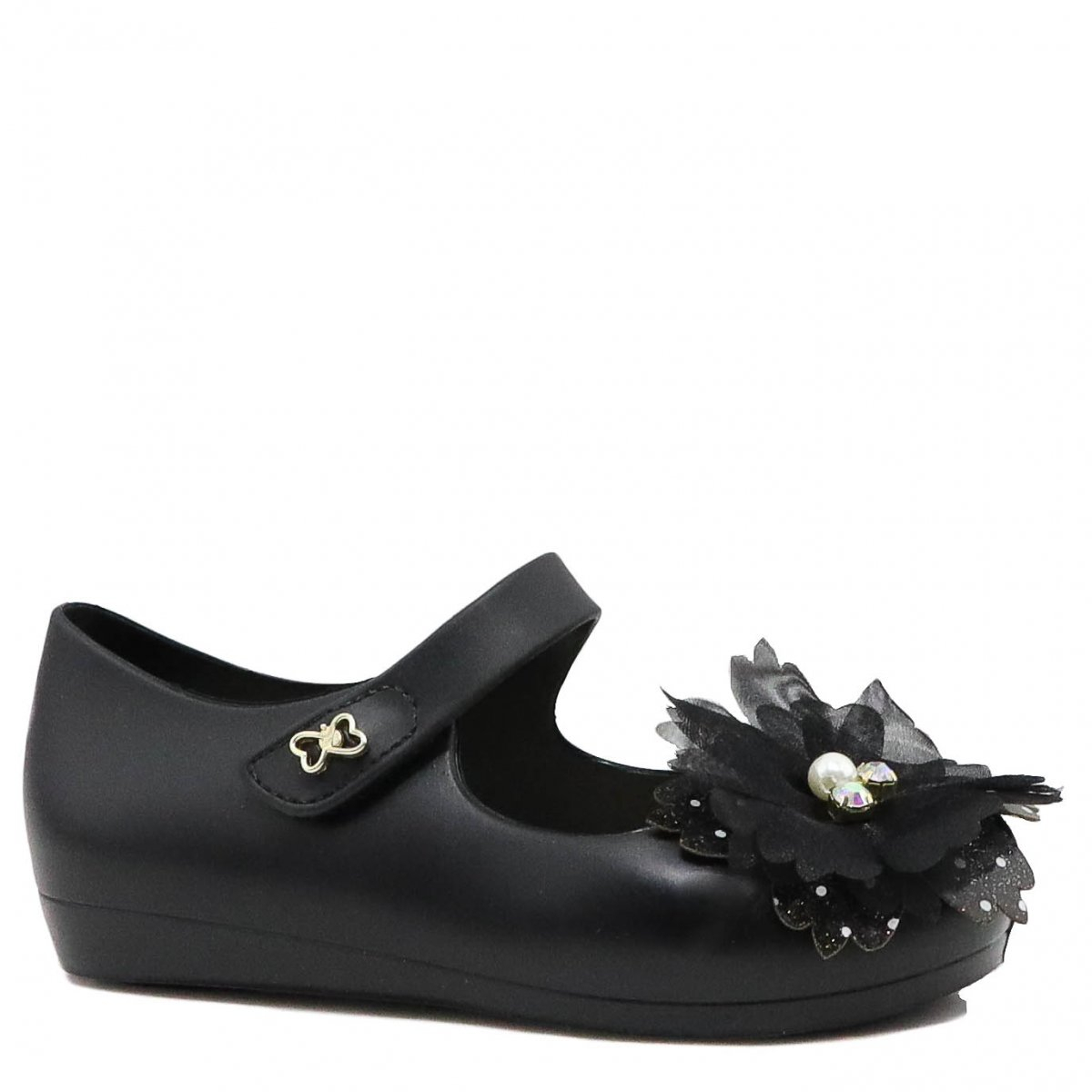 Sapatilha Infantil World Colors Peep Toe Flor Preto