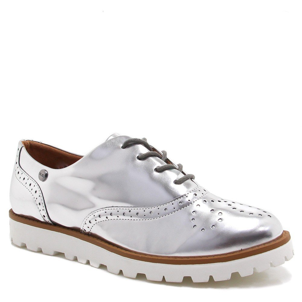 Sapato Oxford Zariff Shoes Brogue Metalizado Prata