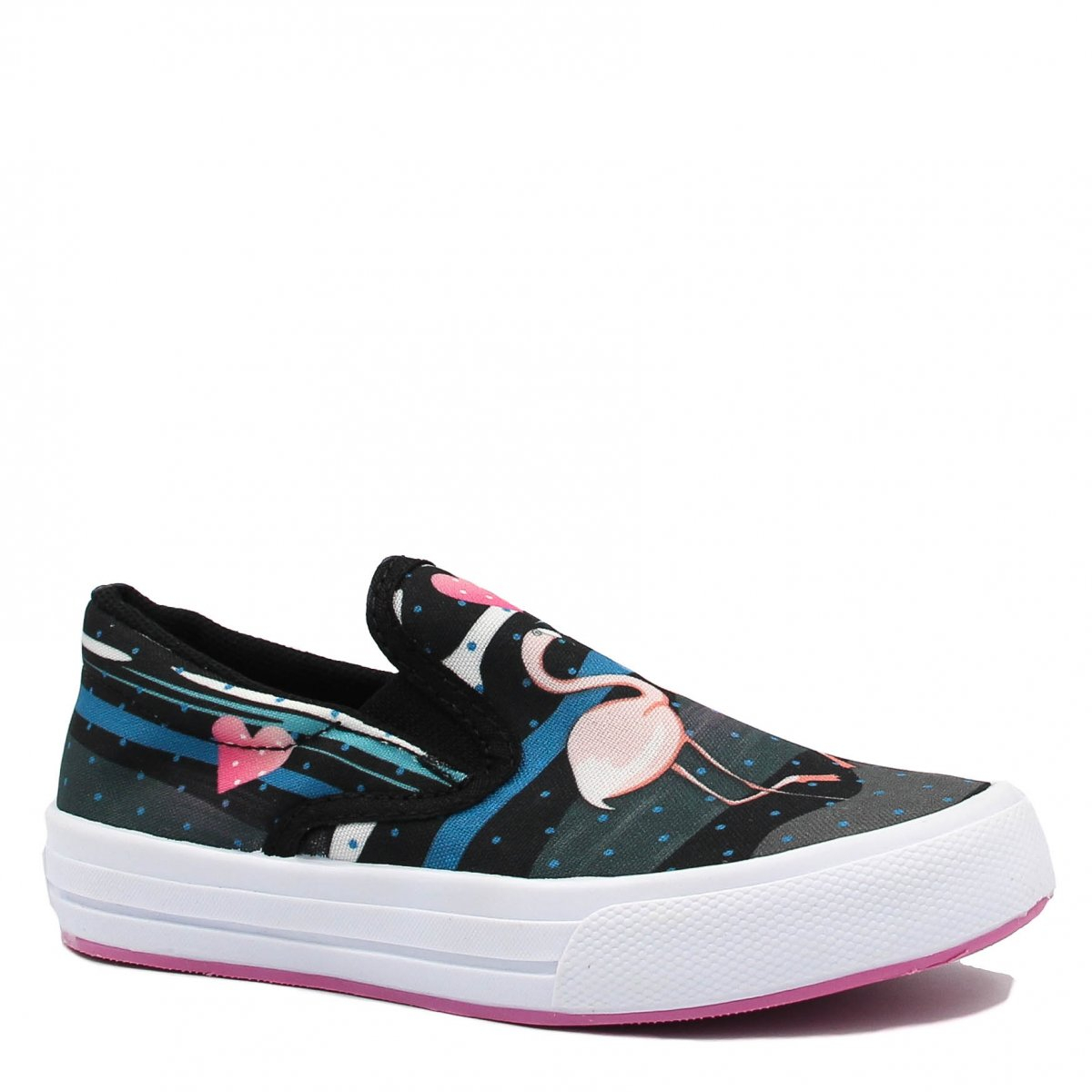 Tênis Infantil Zariff Shoes Slip On Flamingos Preto