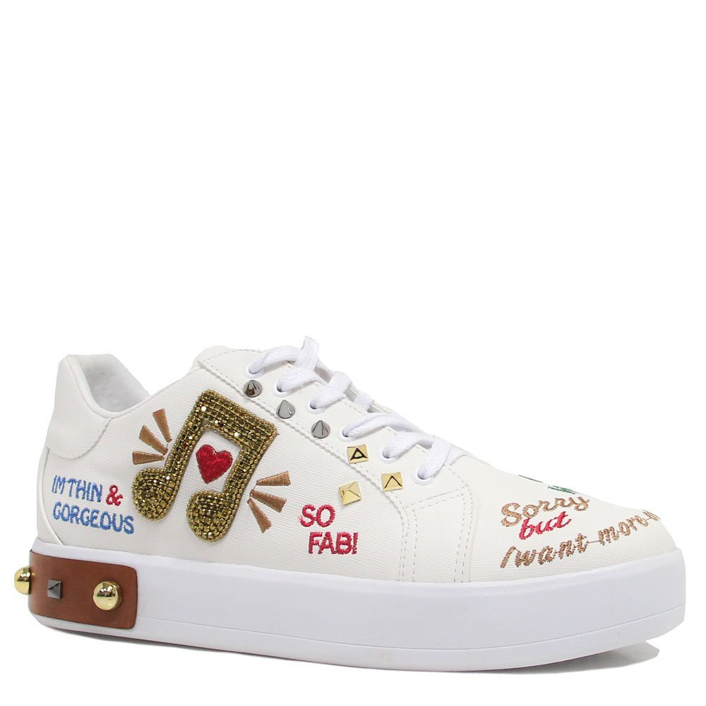 Tênis Zariff Shoes Nota Musical Bordado Branco
