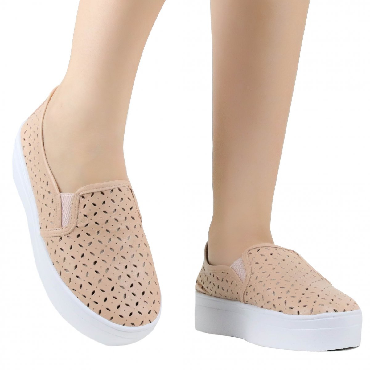 Tênis Zariff Shoes Slip On Vazado Bege